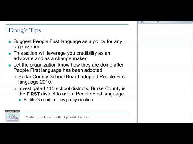 Spreading People First Language Webinar North Carolina Council on Developmental Disabilities