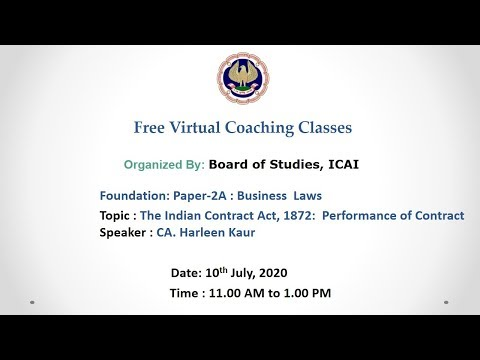 Foundation: Paper-2A : Business  Laws: Morning session- 10.07.2020