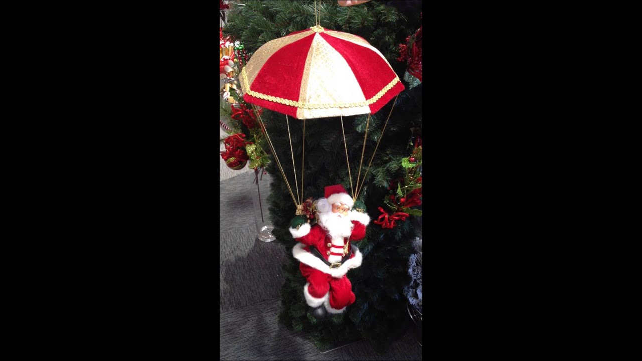 Hanging Parachute Santa Claus Animated Musical The Christmas Hut