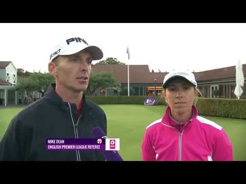 Premier League referee Mike Dean turns caddy for Sophie Walker at Helsingborg Open