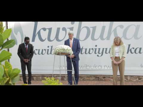 U S  Secretary of State, John Kerry remembers victims of the Genocide against the Tutsi at Kigali Ge
