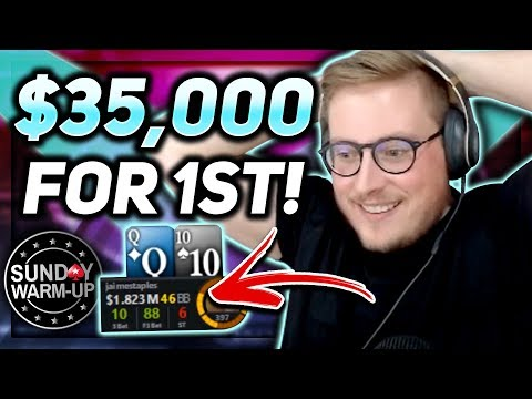 CHIP LEADING A HUGE FINAL TABLE THE SUNDAY WARM UP!!!  PokerStaples Stream Highlights