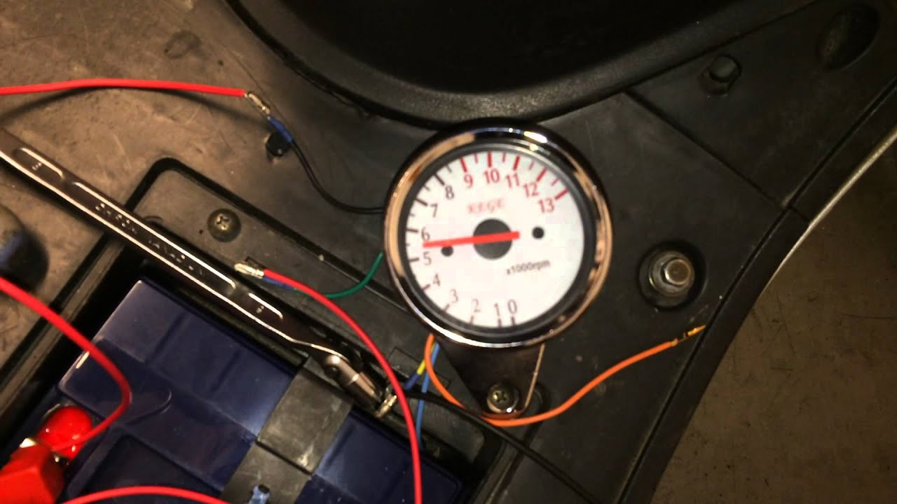 motorcycle tachometer gauge first test (kege) youtube Oil Pump Wiring Diagram  Dragon Gauge Wiring Diagram Instrument Panel Wiring Diagram defi rpm meter wiring diagram
