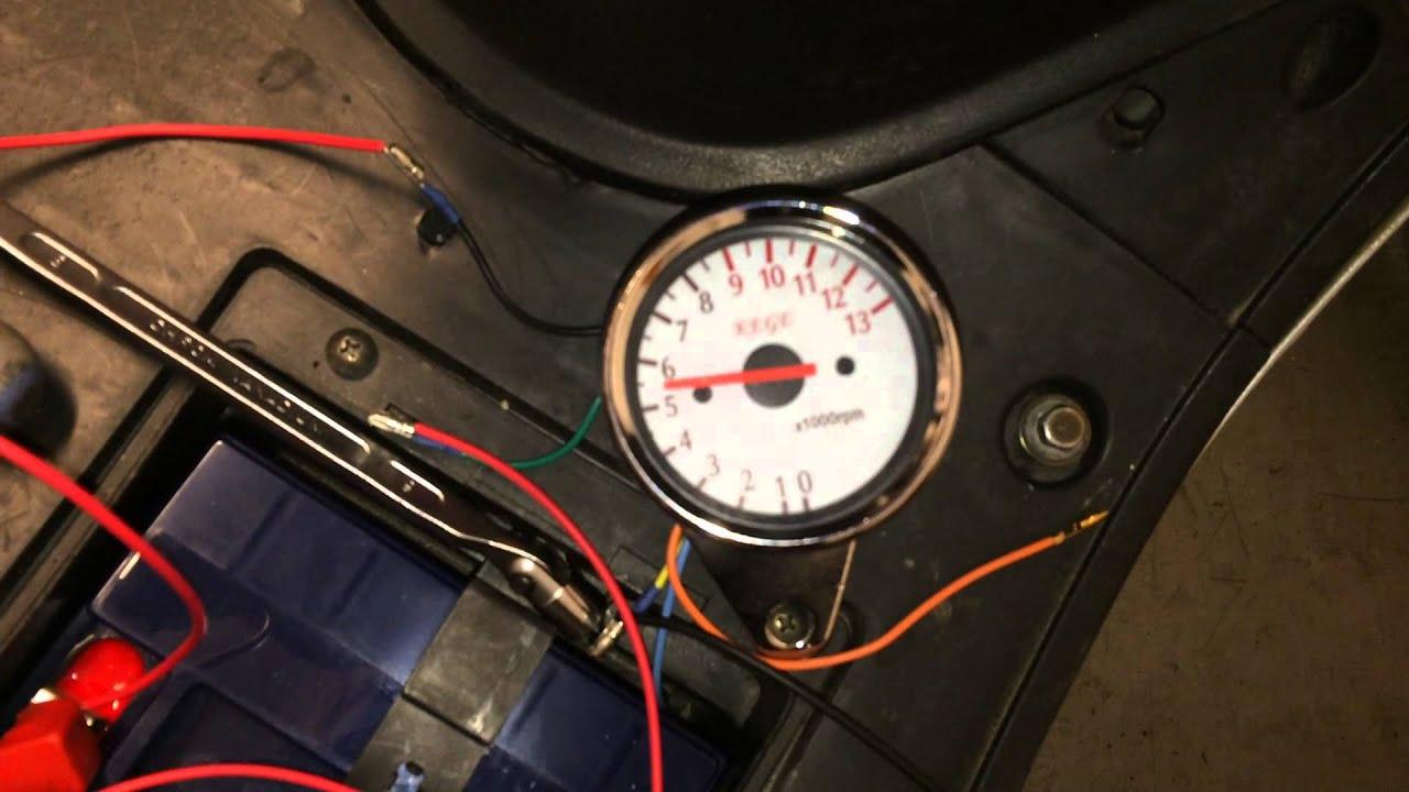 Motorcycle tachometer gauge  First test (Kege)  YouTube