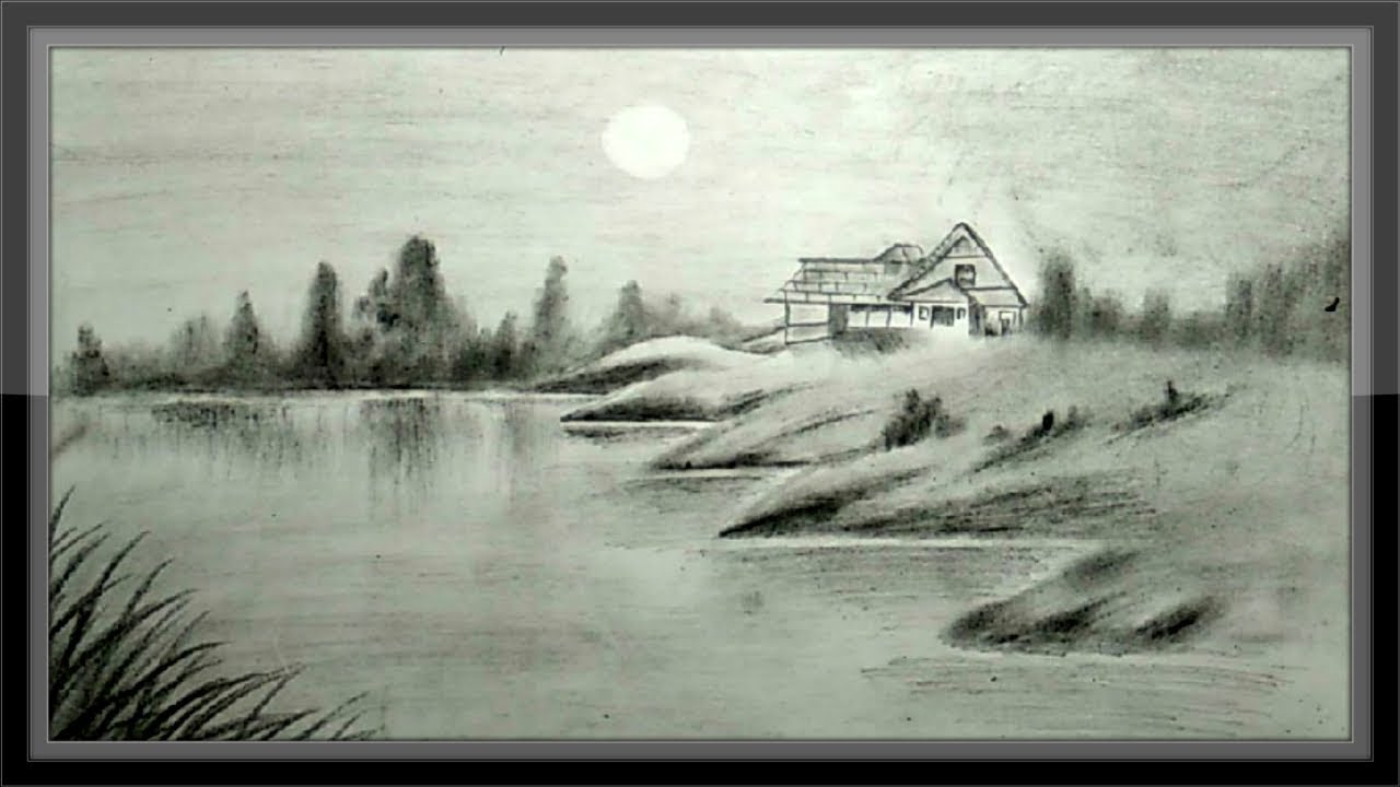 Simple pencil drawing landscape step by step easy