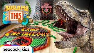 Camp Cretaceous 10,000 Dominoes DESTRUCTION! | JURASSIC WORLDS BUILD ME THIS
