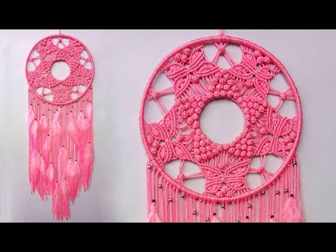 Berry and Butterfly Pattern Dream Catcher || Room Decor Wall Hanging Craft Ideas at home