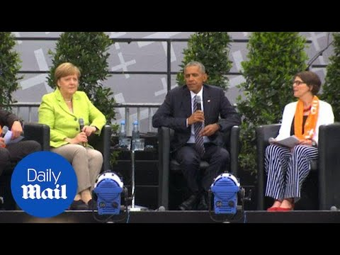 Merkel and Obama hold podium discussion on democracy in Berlin - Daily Mail