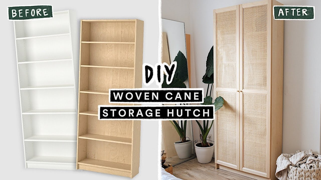 Diying Viral Pinterest Home Decor Woven Cane Storage Bookcase