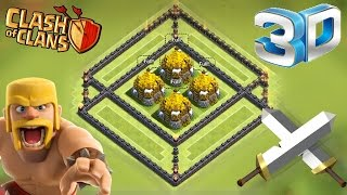 "Clash of Clans - ""SWEET 3D BASE"" Epic New Defense Strategy! Fun Trolling In Champions League! 3D"