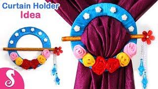 Curtain Holder Idea | Make Low Budget Curtain Tie Backs from Cardboard & Pencil | Sonali Creation