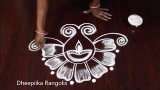 Simple deepam flower rangoli design for diwali * small diya kolam * easy rangoli