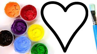 Heart Painting For Kids, Toddlers | Learn How To Paint A Heart Coloring Page | Baby Paint Series