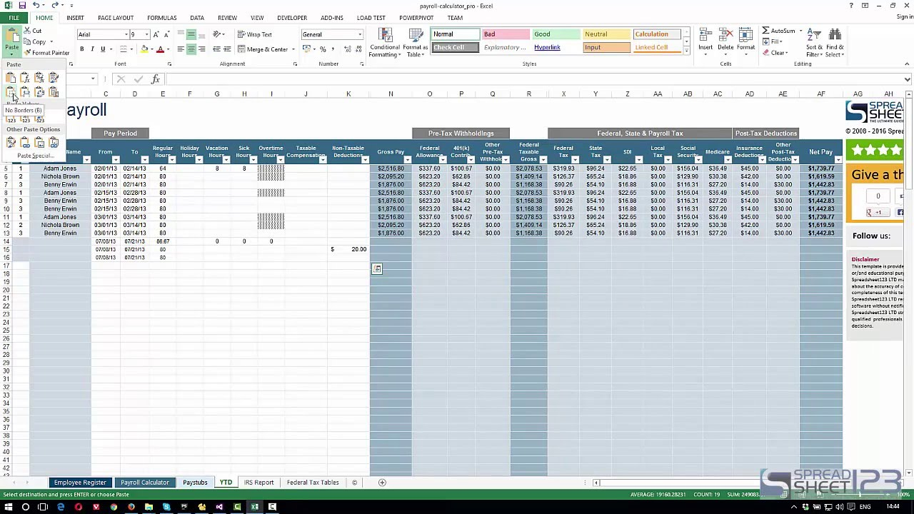 payroll calculator by spreadsheet123 - demo