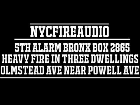 NYCFireAudio - Bronx 5th Alarm Box 2865  - Heavy Fire In Multiple Private Dwellings  - 6/22/17