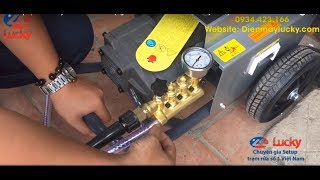 Test Áp lực của Con Máy rửa xe cao áp Mini 1300PSI giá rẻ tại Lucky