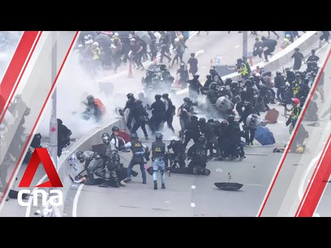 Hong Kong police adapt to weapons used by anti-government protesters