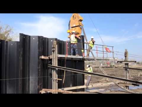 Construction - Driving Steel Sheets to Build a Bulkhead