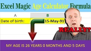 date calculator   excel magic age calculation worksheet download