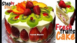 Fresh Fruit & Cream Sponge Cake ഫ്രഷ് ഫ്രൂട്സ് കേക്ക് Step by Step Instructions for Beginners