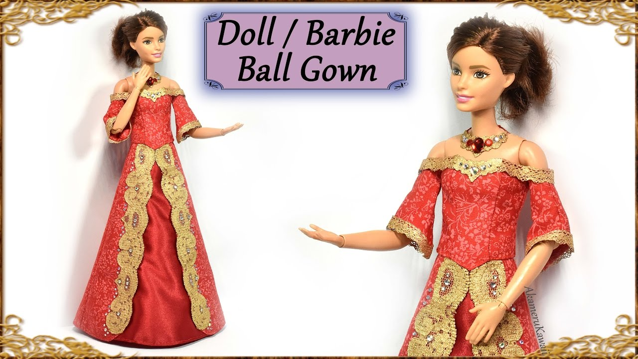 DIY Barbie / Doll Ball Gown - Miniature Dress Tutorial - YouTube