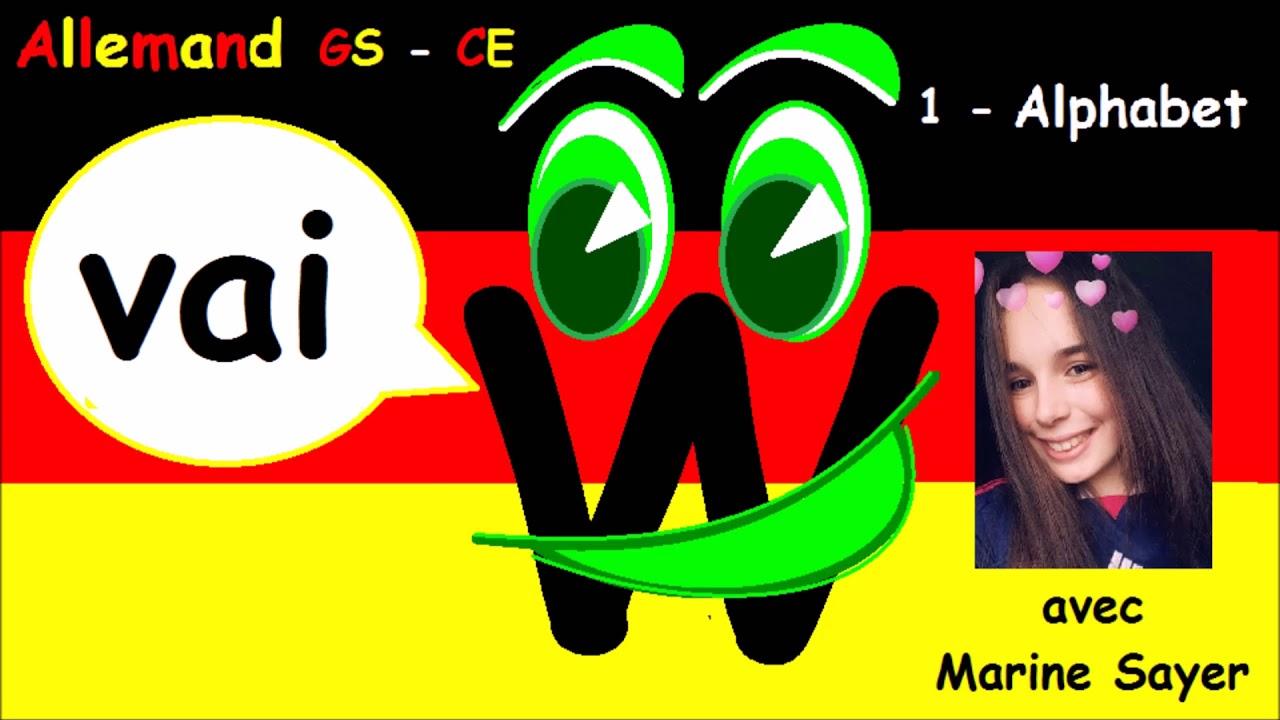 Cours d'allemand facile de l'alphabet gs cp ce1 ce2 cm1 cm2 : prononciation - YouTube