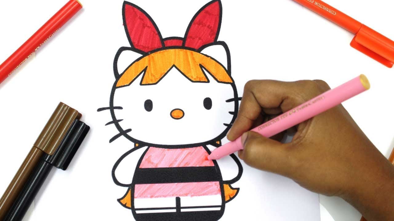HELLO KITTY as powerpuff girls blossom, bubbles, buttercup Coloring ...
