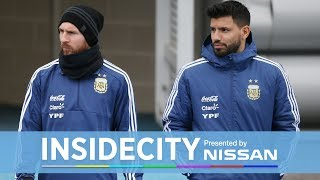 MESSI TRAINS AT CITY WITH AGUERO  INSIDE CITY 289