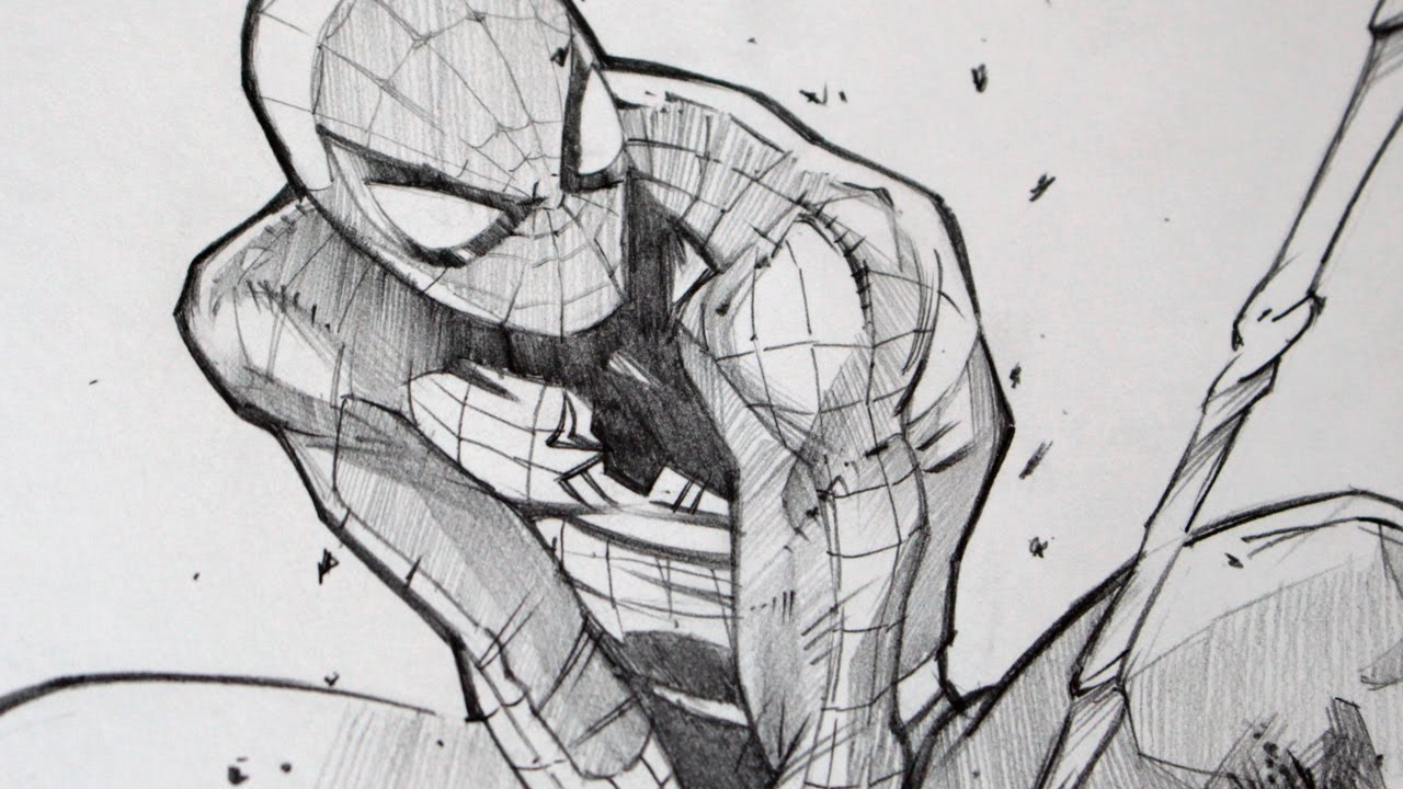 Drawing spiderman with 2b graphite pencil