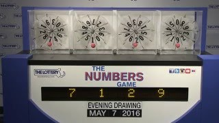 Evening Numbers Game Drawing: Saturday, May 7, 2016