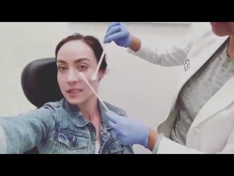 Legends Of Tomorrow Star Courtney Ford getting her face done by Nitrogen