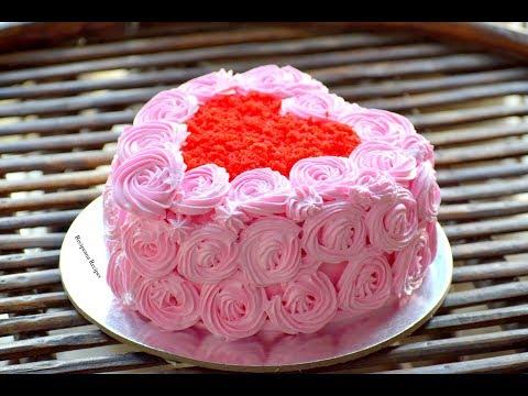 कढ़ाई में बनाये ये आसान और लाज़वाब Heart Shaped Cake - Red Velvet Cake - Icing - Cake Decoration