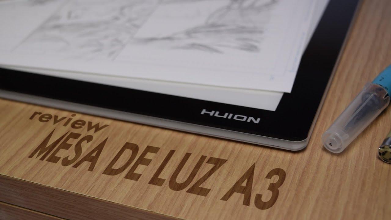 Review mesa de luz huion a3 youtube for Mesa de luz para dibujo