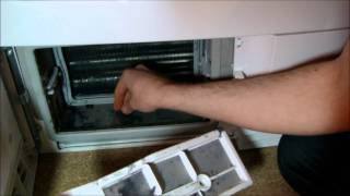 how to: clean a heat pump condenser and filters on Electrolux/AEG/john Lewis dryers(with heat pump condenser dryers, you can't remove the heat exchange, you will have to use a toothbrush and water to remove build up of fluff., 2013-08-31T17:30:48.000Z)