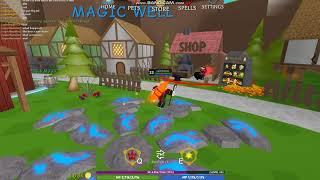 trying to beat stone golem (Roblox Wizard Simulator