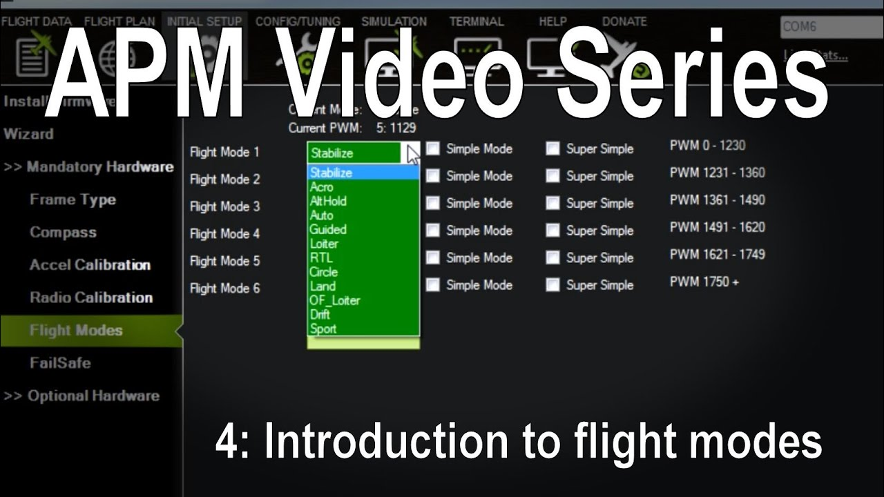 (4/8) APM 2 5/2 6/3 1 - Introduction to flight modes (stabilize, loiter,  RTL etc)