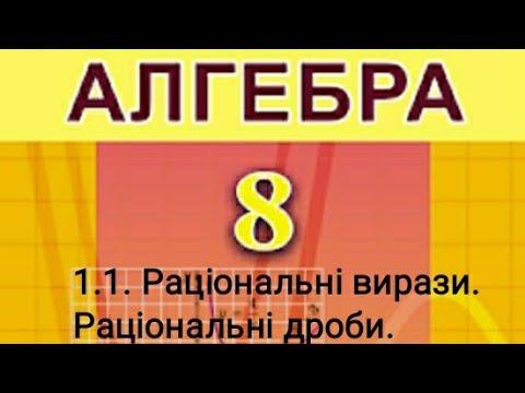1.1. Раціональні вирази. Раціональні дроби. Алгебра 8 клас Істер  Вольвач С. Д.