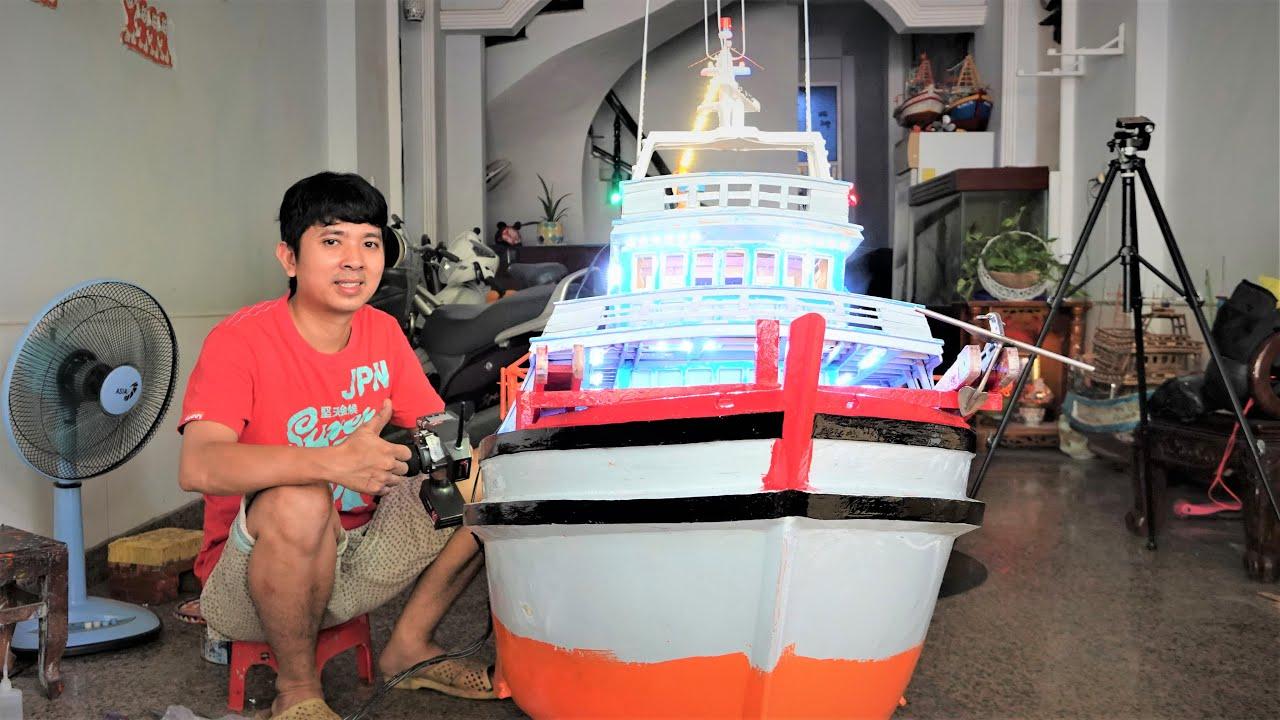 Tiếng Máy Nổ Của Chiếc Ghe Thái Lan Mô Hình | Làm Ông hàng Xóm Chạy Qua Xem