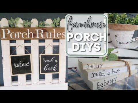 DIY DOLLAR TREE PORCH DECOR | FARMHOUSE STYLE DIY | SUMMER PORCH DECOR