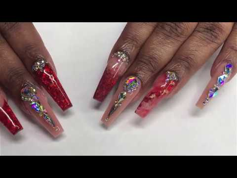 acrylic full set red and nude color  nails tutorial
