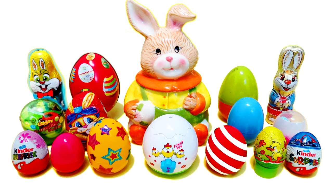 Easter Eggs Surprises - Chocolate Bunny  for Easter Eggs In A Basket With A Bunny  289ifm
