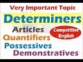 Determiners in English Grammar: Quantifiers, Articles, Demonstratives & Possessives in Hindi