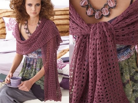 Knitting Patterns For Lace Stoles : #24 Lace Stole, Vogue Knitting Early Fall 2010 - YouTube