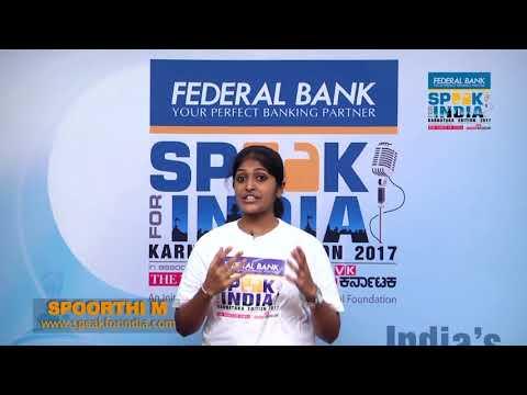 Spoorthi M -  Speak for India Karnataka edition 2017 Top 26 contestant