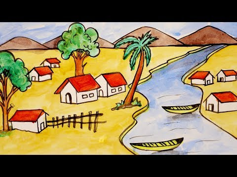 #How To Paint A Beautiful Scenery | Simple & Easy | Art For Kids | Landscape Painting For Children
