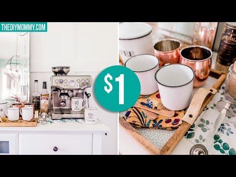 DIY DOLLAR STORE FALL DECOR | Tray & Coffee Station!