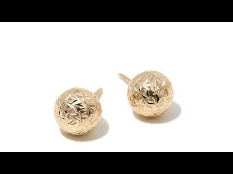 Earrings Michael Anthony Jewelry 10K Diamond Cut Button Earrings