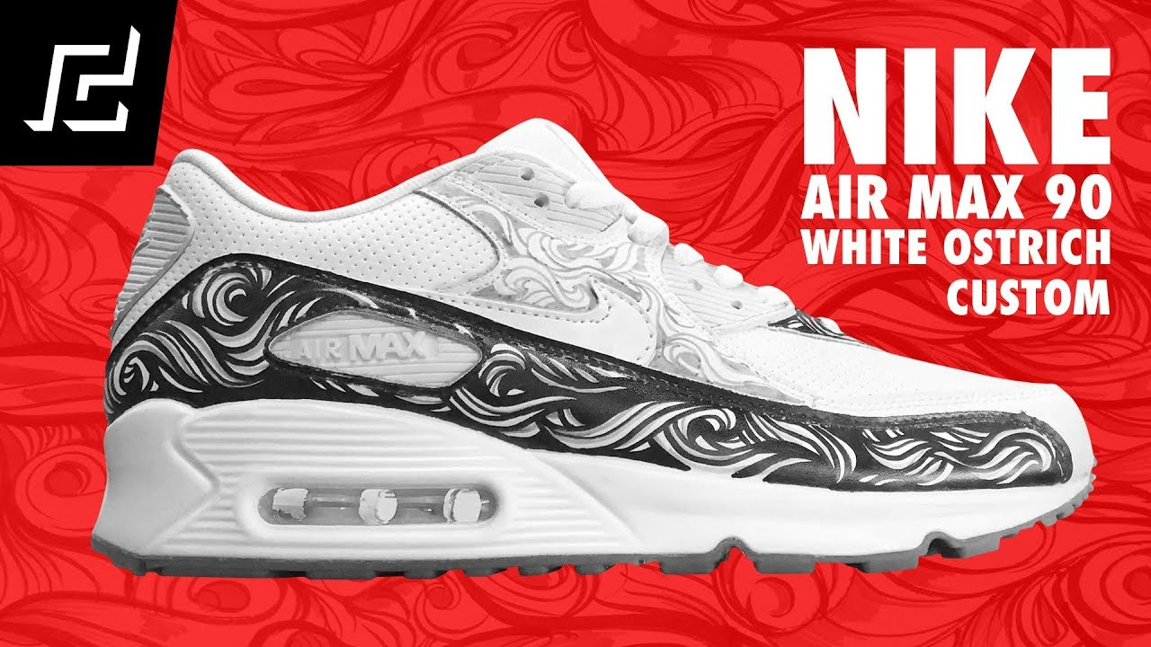 on sale ccc7c b6f6e NIKE AIR MAX 90 (White Ostrich) CUSTOM USING A SHARPIE