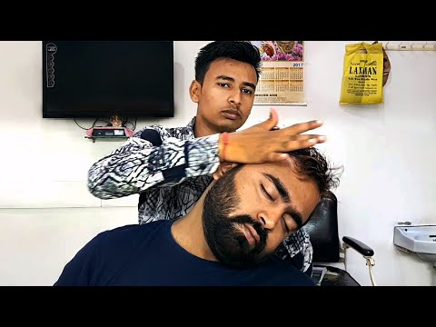ASMR Head Massage by young Indian barber - ASMR no talking