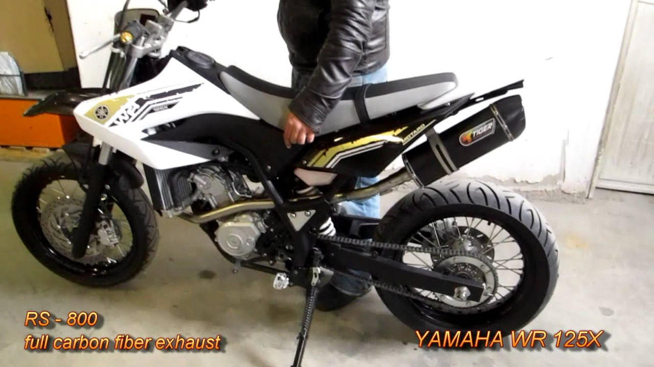 yamaha wr 125 x carbon fiber tiger exhaust system youtube. Black Bedroom Furniture Sets. Home Design Ideas